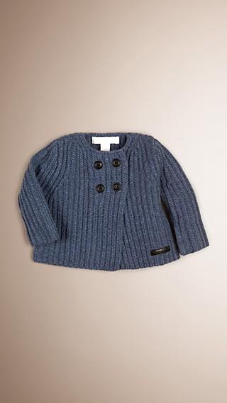 Cardigan aus Kaschmir und Baumwolle in Rippenstrick