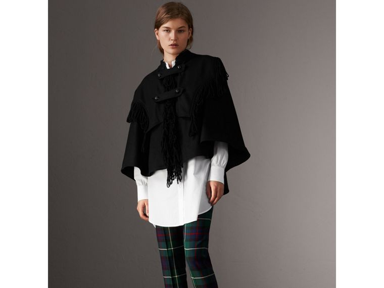 Fringed Wool Blend Military Cape in Black - Women | Burberry United States - cell image 4