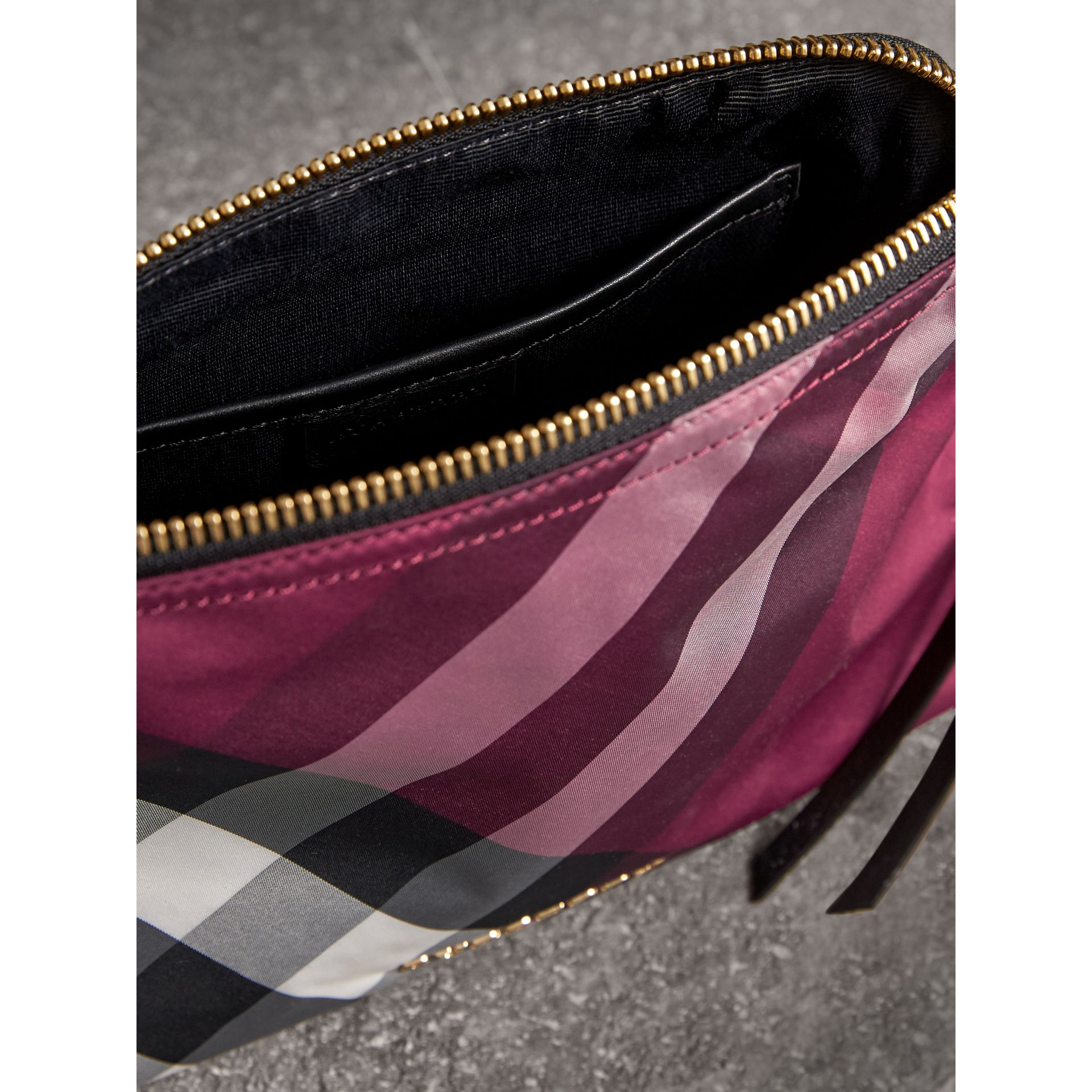 Large Zip-top Check Pouch in Plum - Women | Burberry - gallery image 4