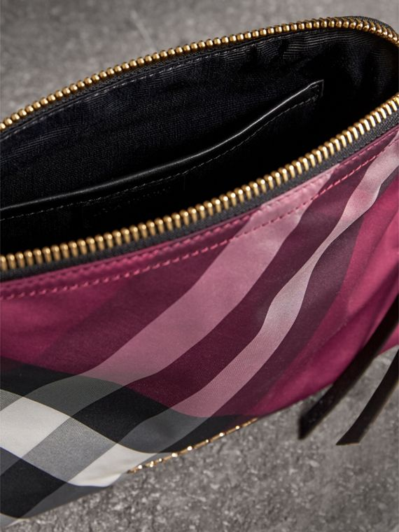 Large Zip-top Check Pouch in Plum - Women | Burberry - cell image 3