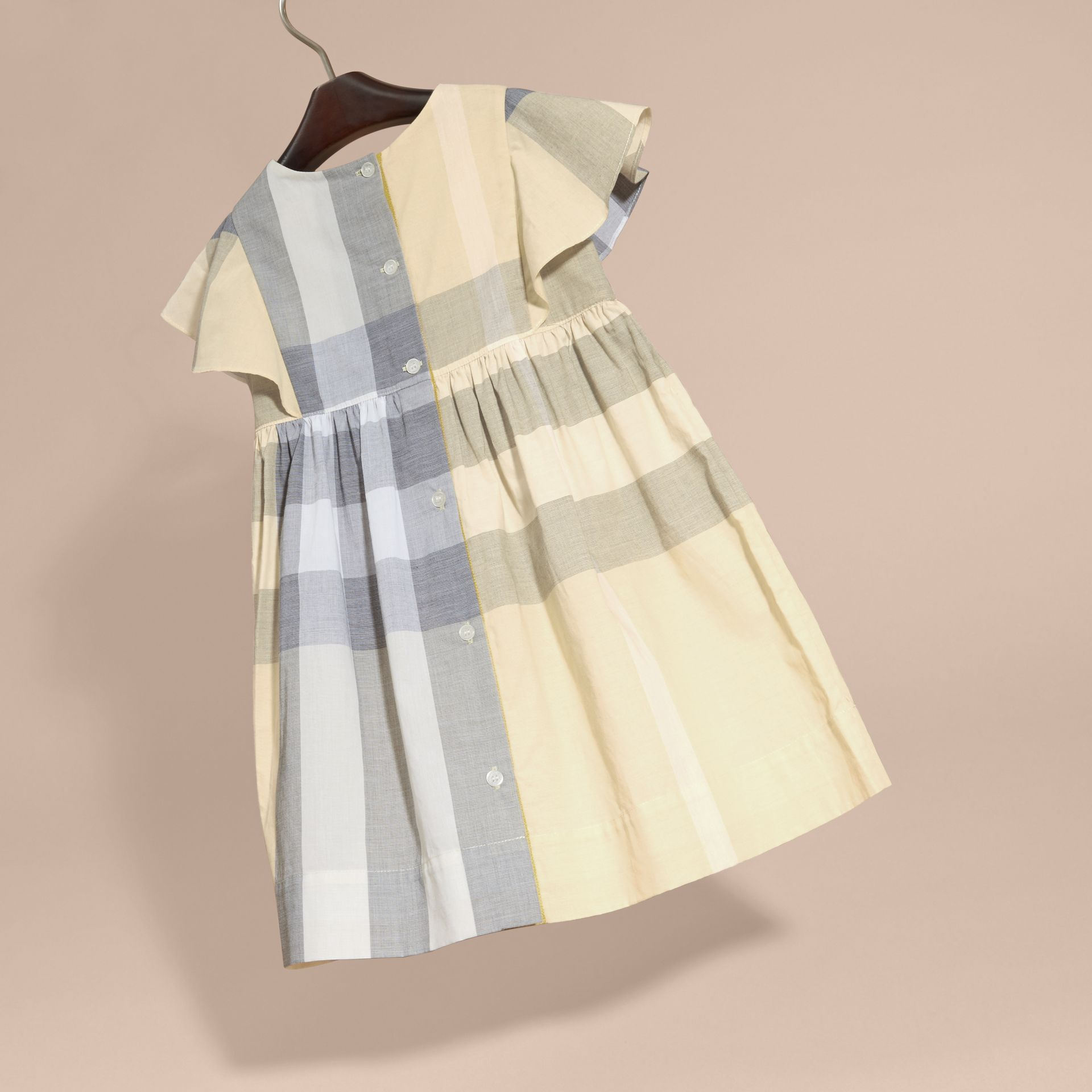 Ruffle Detail Check Cotton Dress in Pale Yellow - Girl | Burberry - gallery image 4