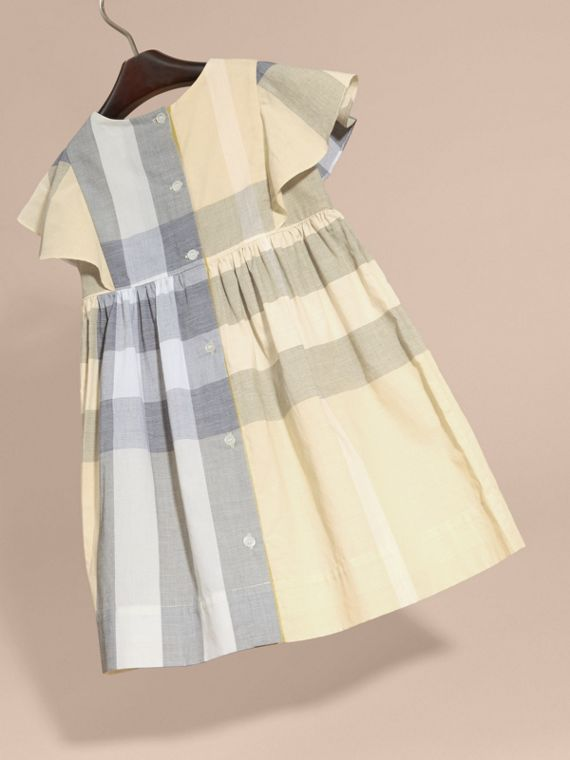 Ruffle Detail Check Cotton Dress in Pale Yellow - Girl | Burberry Singapore - cell image 3