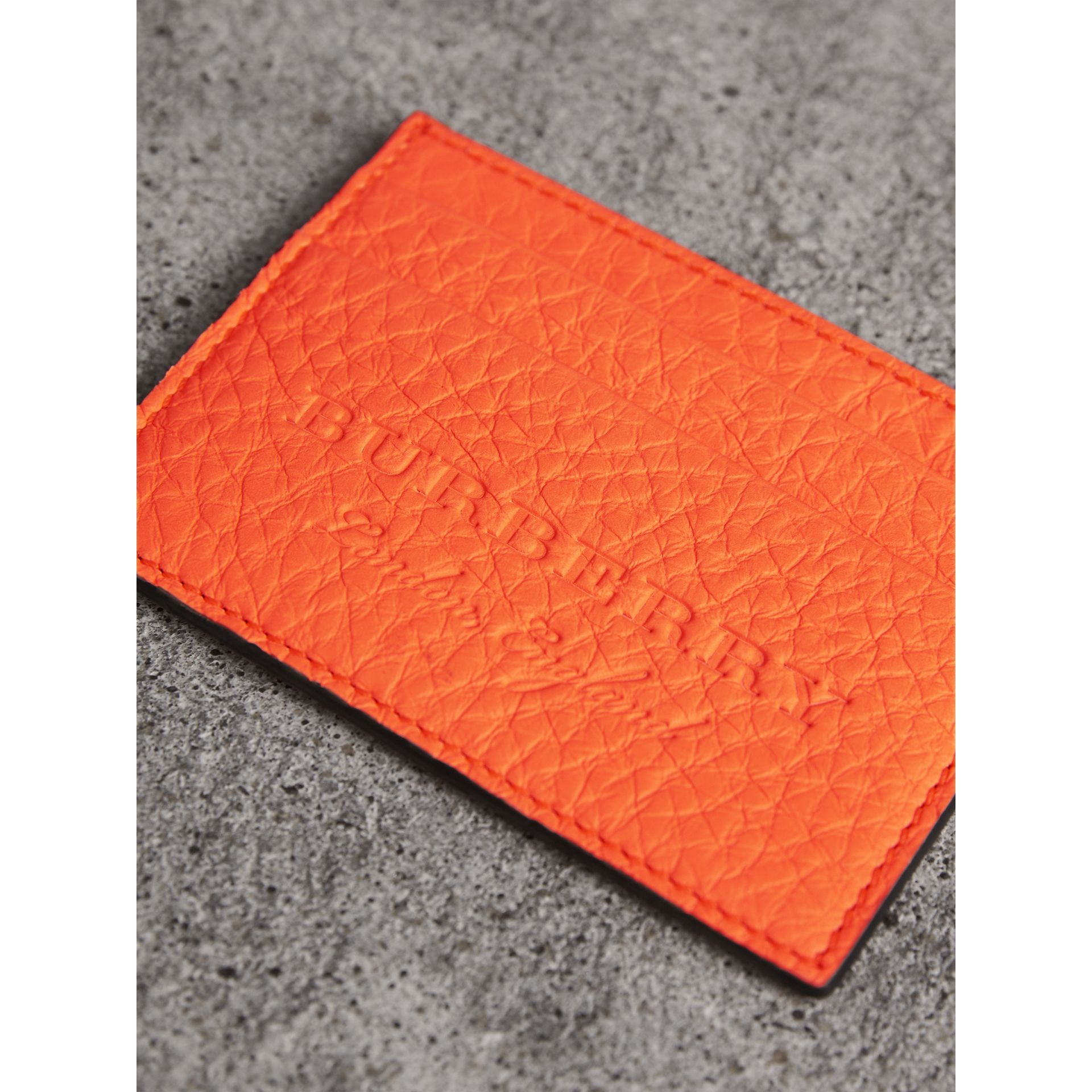 Embossed Textured Leather Card Case in Neon Orange | Burberry - gallery image 1