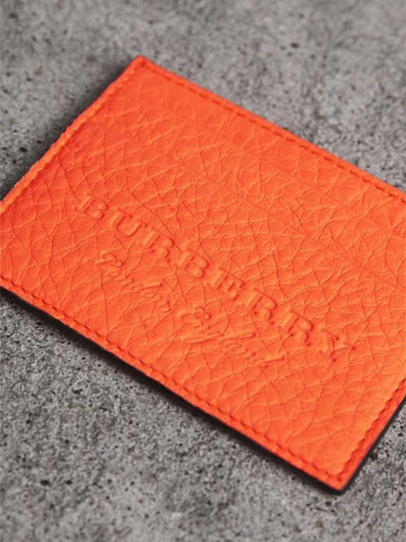 Embossed Textured Leather Card Case in Neon Orange | Burberry - cell image 1
