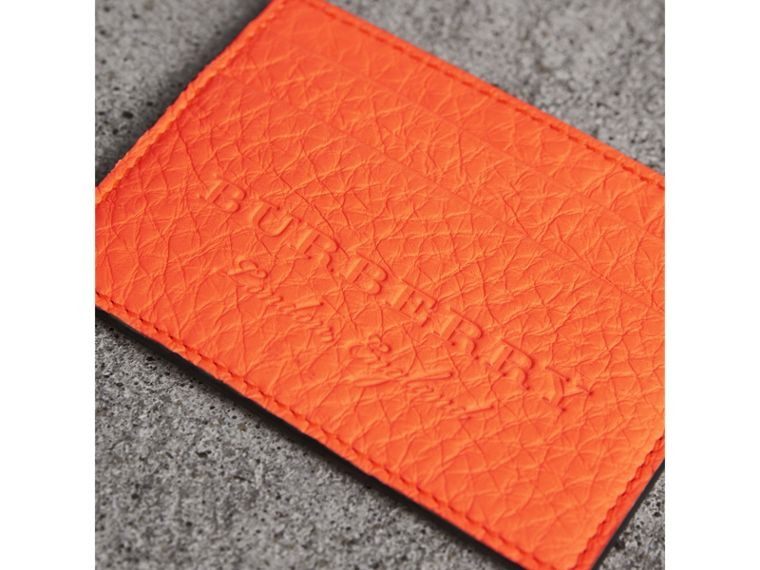 Embossed Textured Leather Card Case in Neon Orange | Burberry United Kingdom - cell image 1