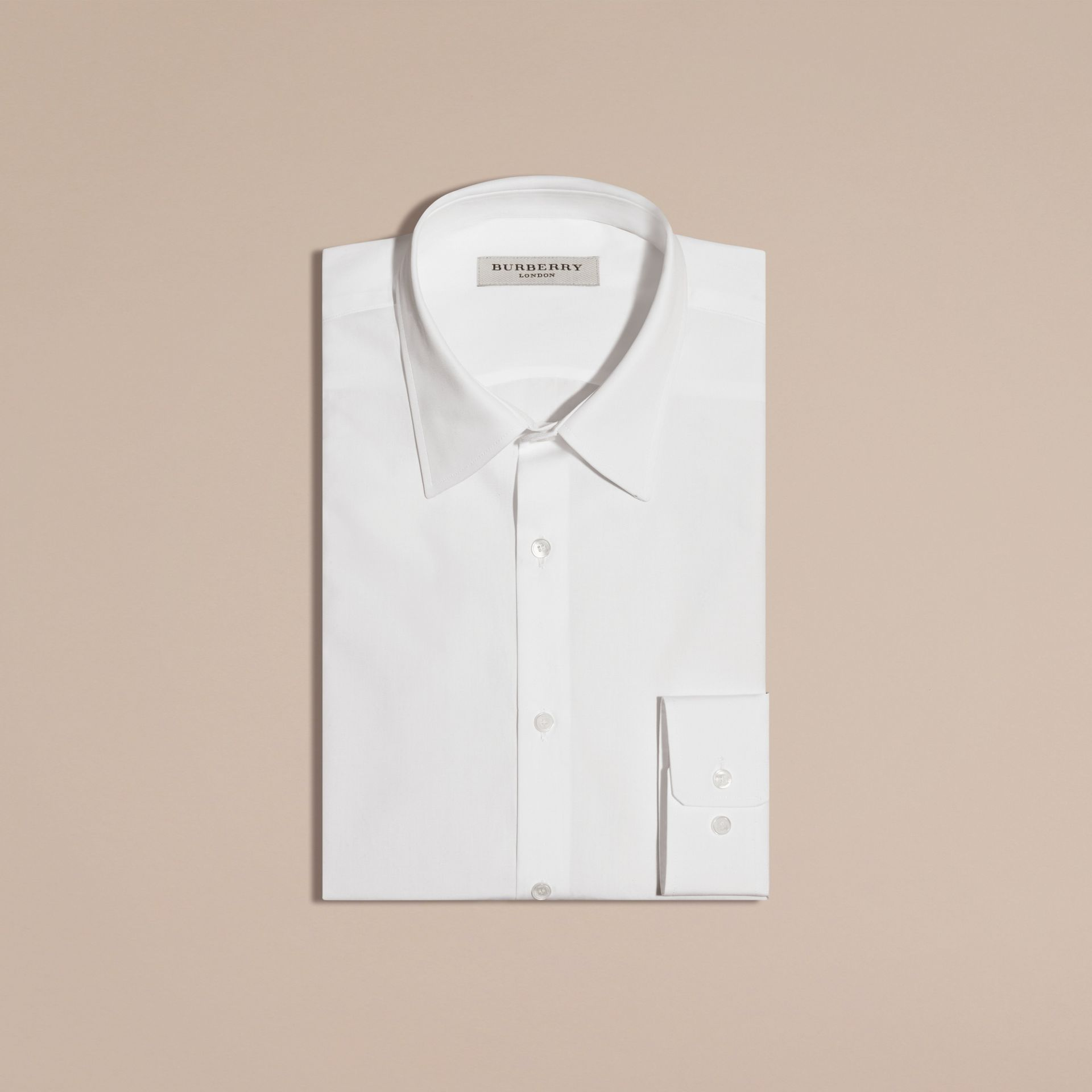 White Slim Fit Cotton Poplin Shirt White - gallery image 4