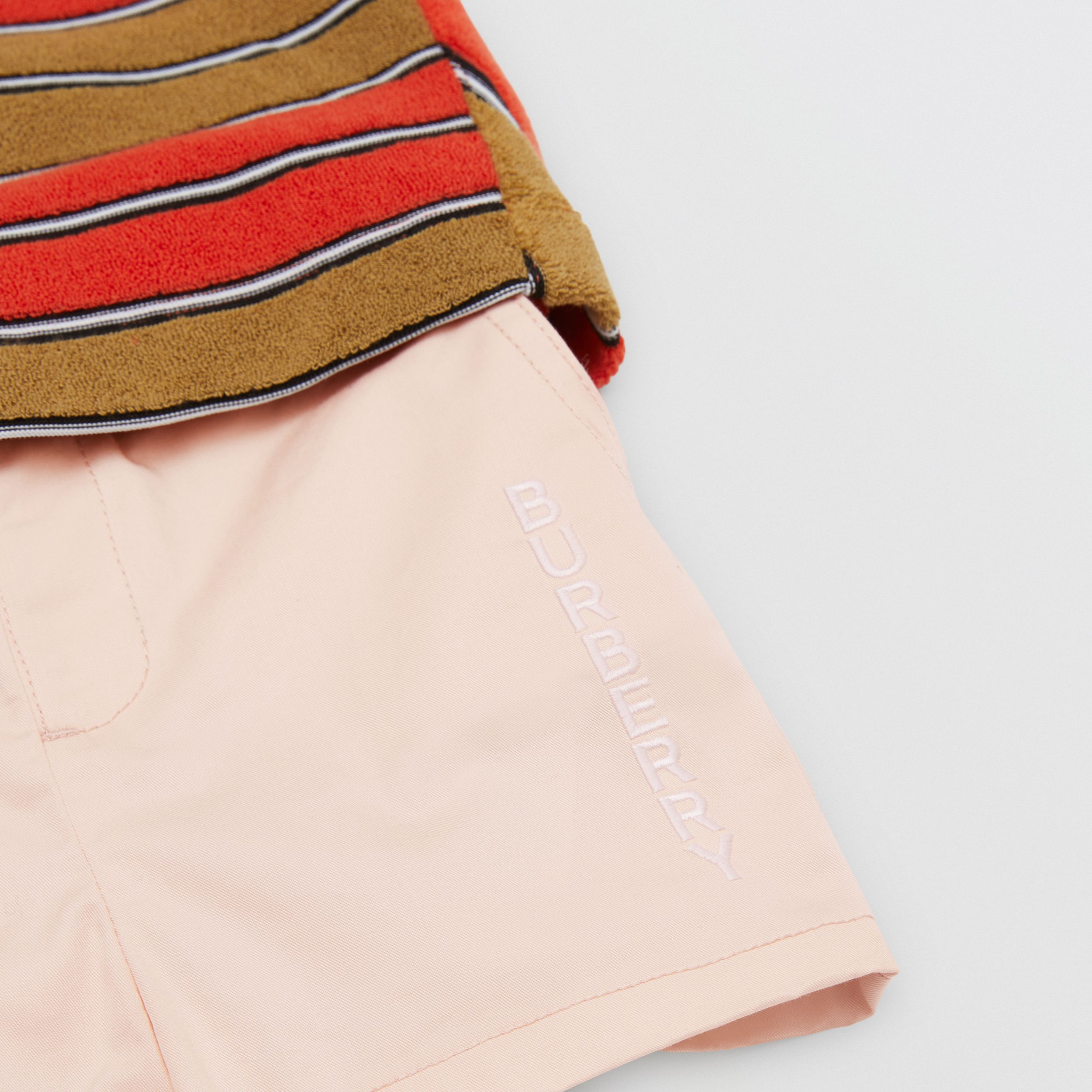 Embroidered Logo Cotton Shorts in Soft Pink - Children | Burberry Canada - 2