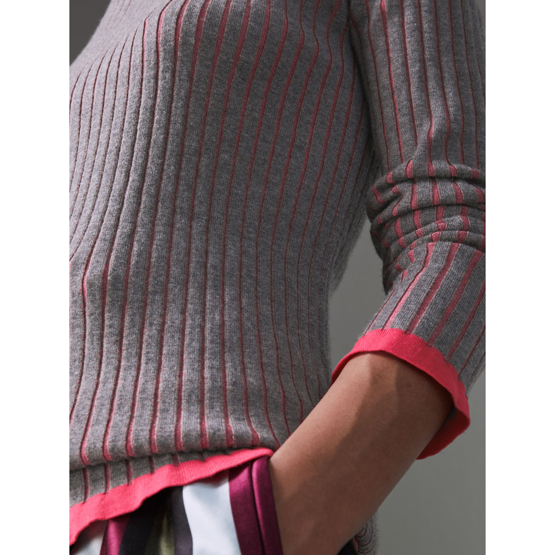 Rib Knit Cashmere Silk Sweater in Grey Melange - Women | Burberry - gallery image 1