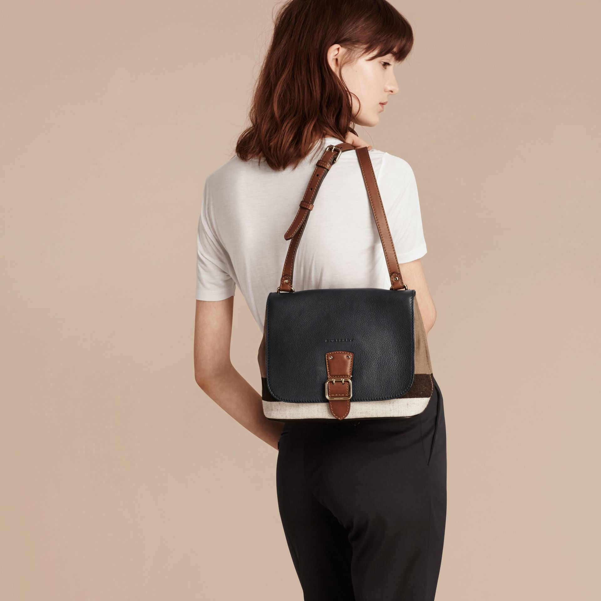 Black Canvas Check and Leather Crossbody Bag Black - gallery image 3