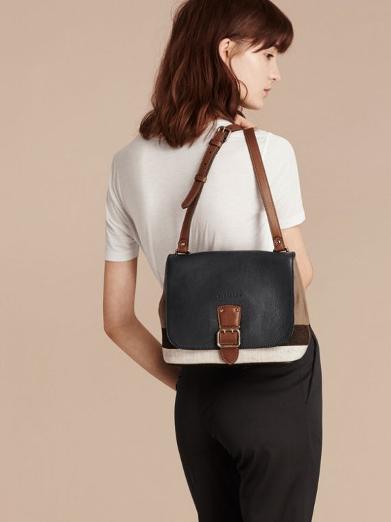 Black Canvas Check and Leather Crossbody Bag - cell image 2