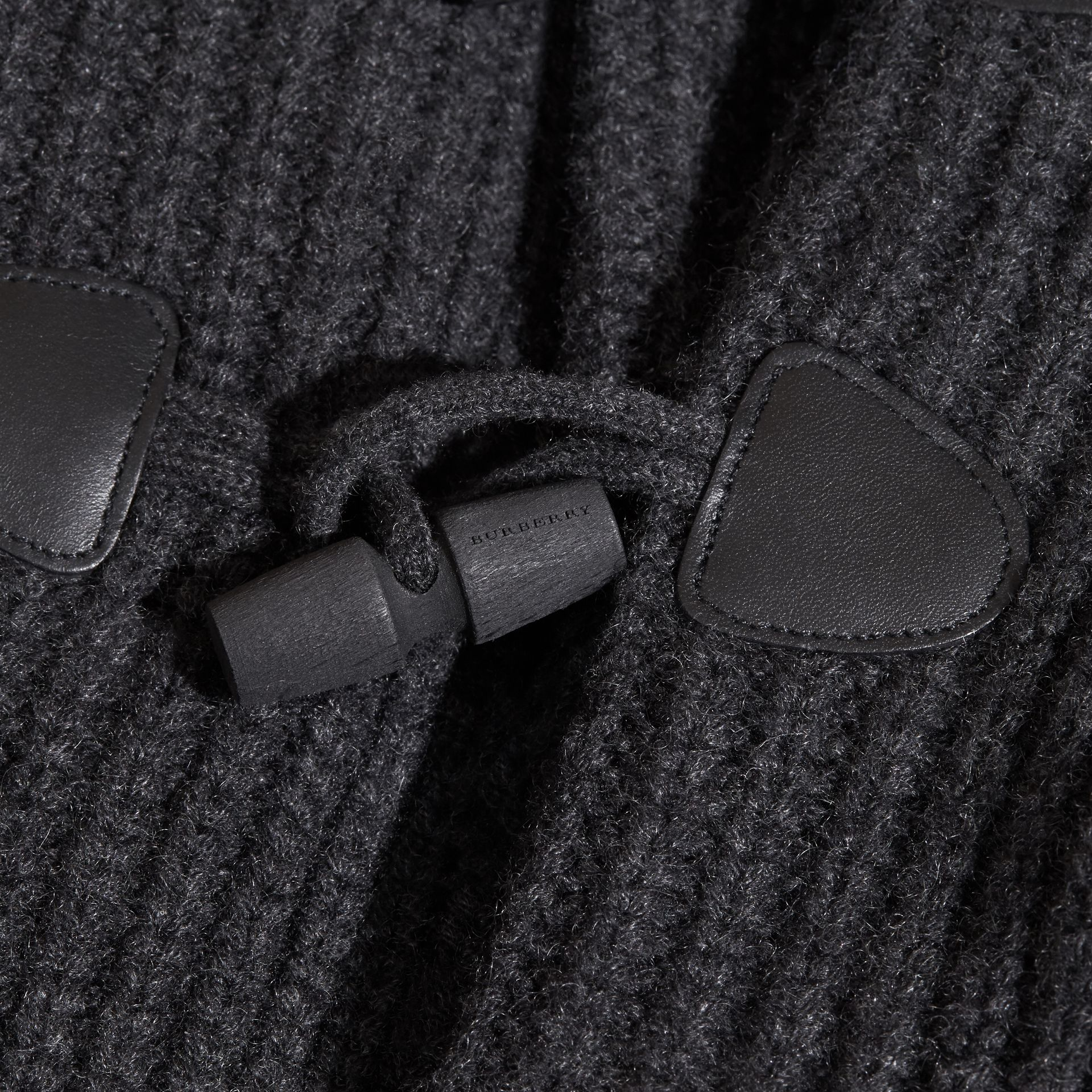 Charcoal melange Toggle Closure Wool Cashmere Cardigan - gallery image 2