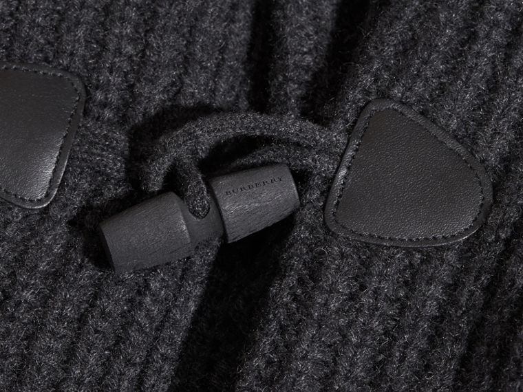 Charcoal melange Toggle Closure Wool Cashmere Cardigan - cell image 1