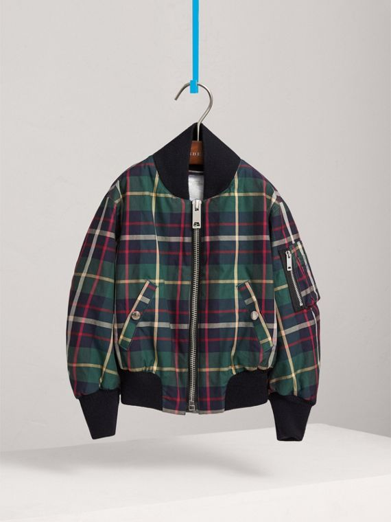 Tartan Cotton Bomber Jacket in Racing Green
