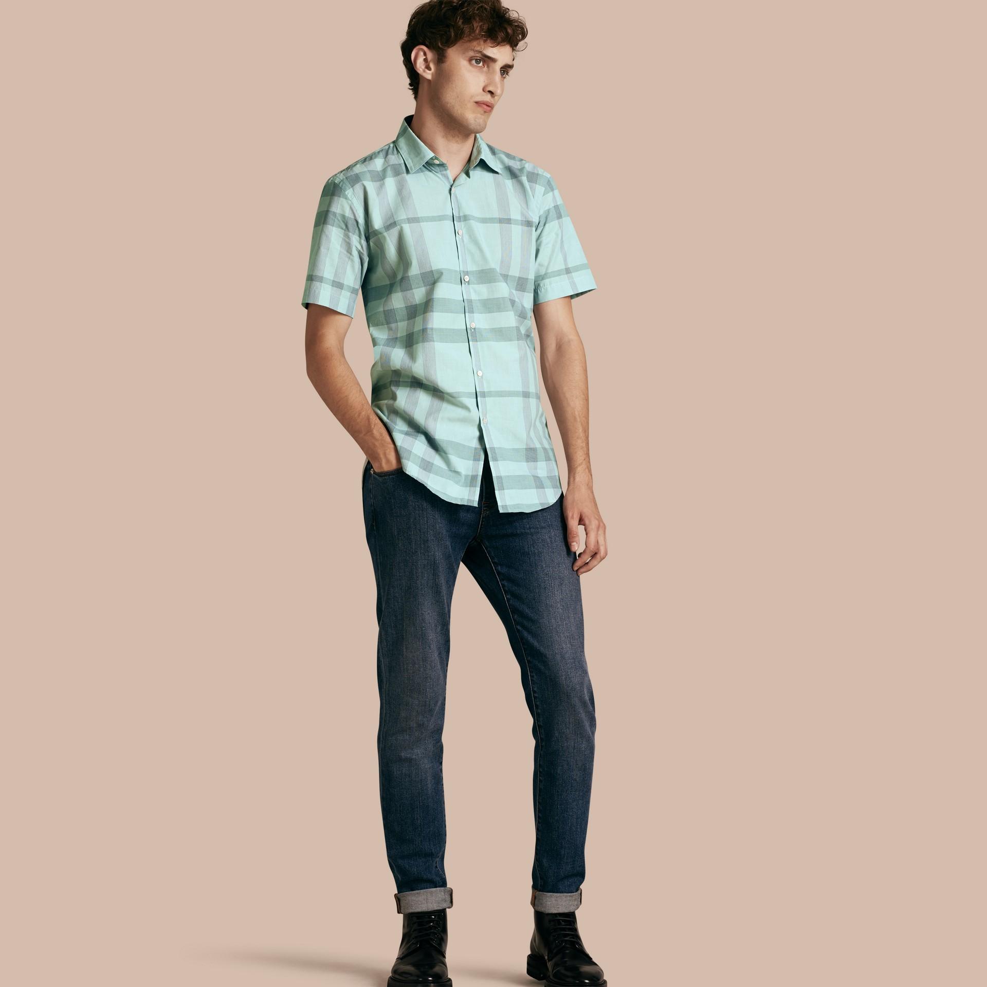 유칼립투스 그린 쇼트 슬리브 체크 코튼 셔츠 유칼립투스 그린 - 갤러리 이미지 1