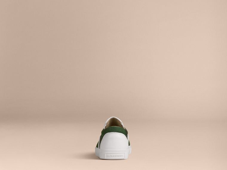 Bright jade green Canvas Check Slip-on Trainers - cell image 1
