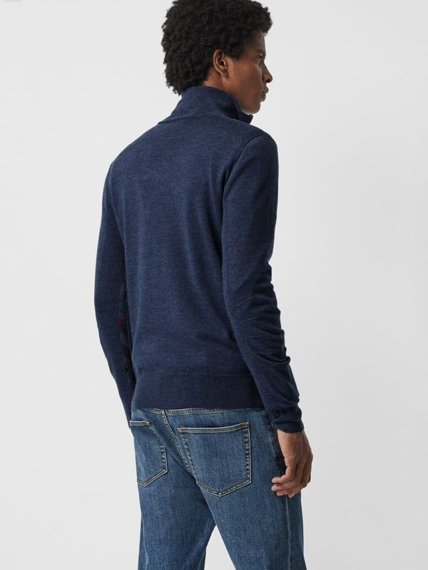 Merino Wool Half-zip Sweater in Storm Blue - Men | Burberry - cell image 2
