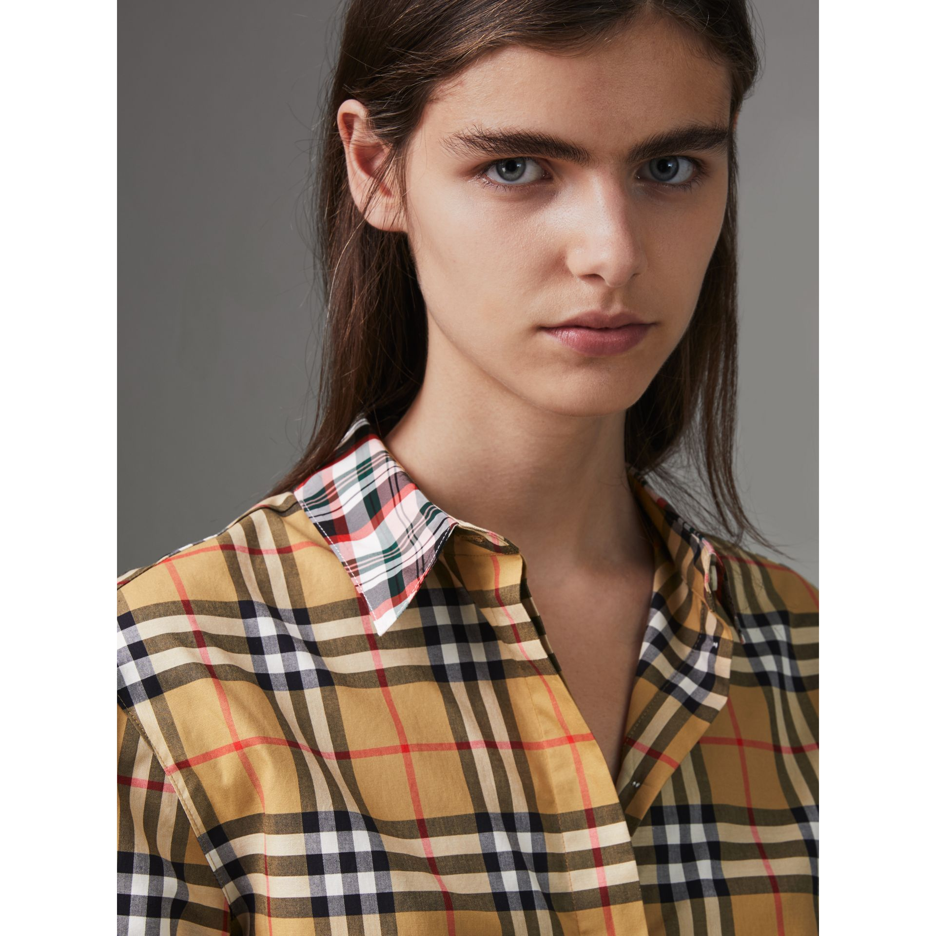 Contrast Check Cotton Shirt in Antique Yellow - Women | Burberry Hong Kong - gallery image 1