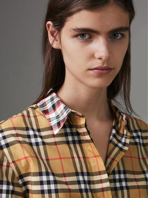 Contrast Check Cotton Shirt in Antique Yellow - Women | Burberry Hong Kong - cell image 1