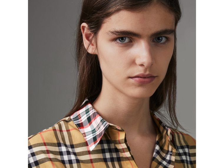 Contrast Check Cotton Shirt in Antique Yellow - Women | Burberry Australia - cell image 1