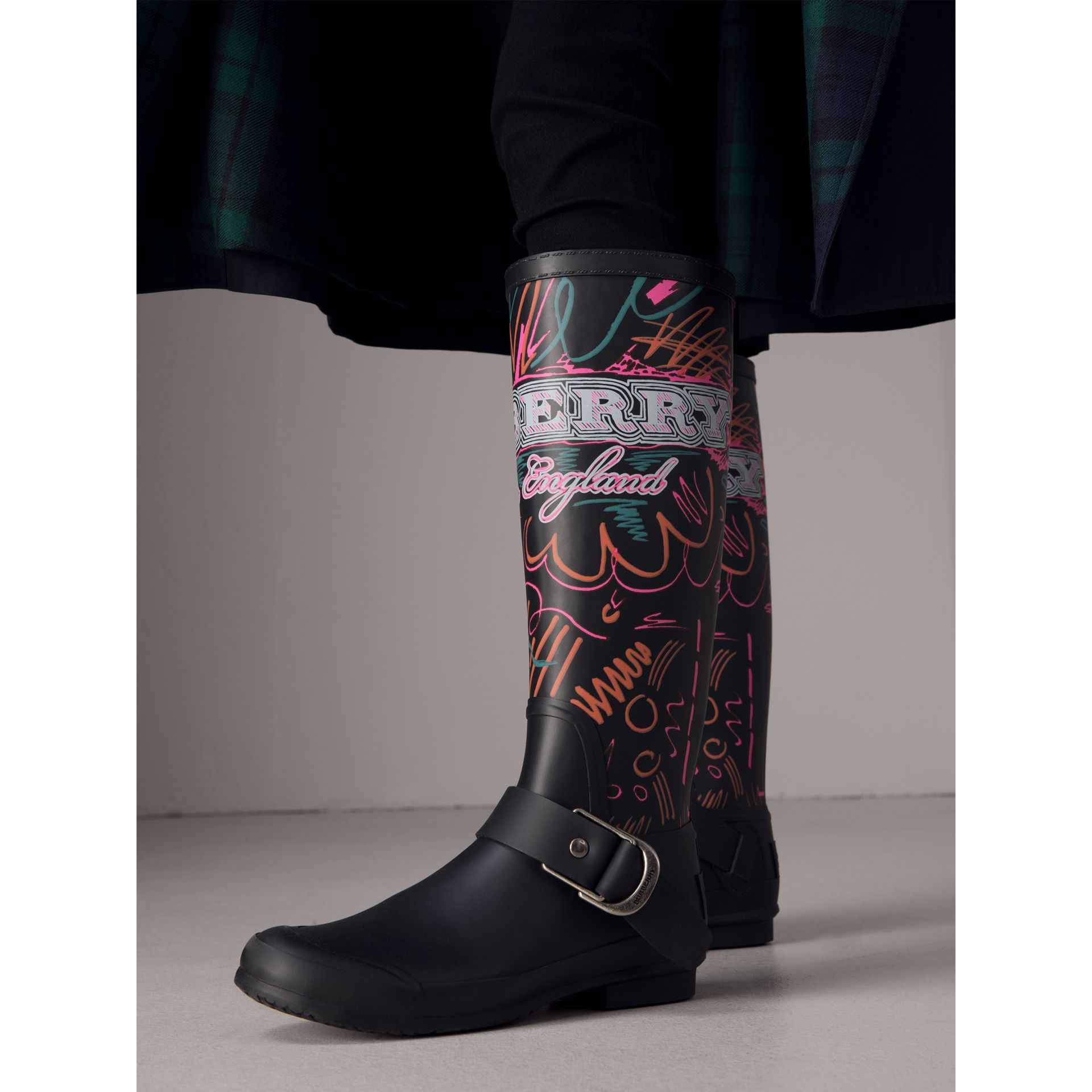 Doodle Print Rubber Rain Boots in Black - Women | Burberry - gallery image 2