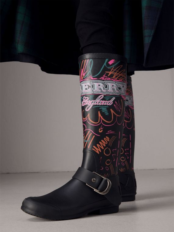 Doodle Print Rubber Rain Boots in Black - Women | Burberry - cell image 2