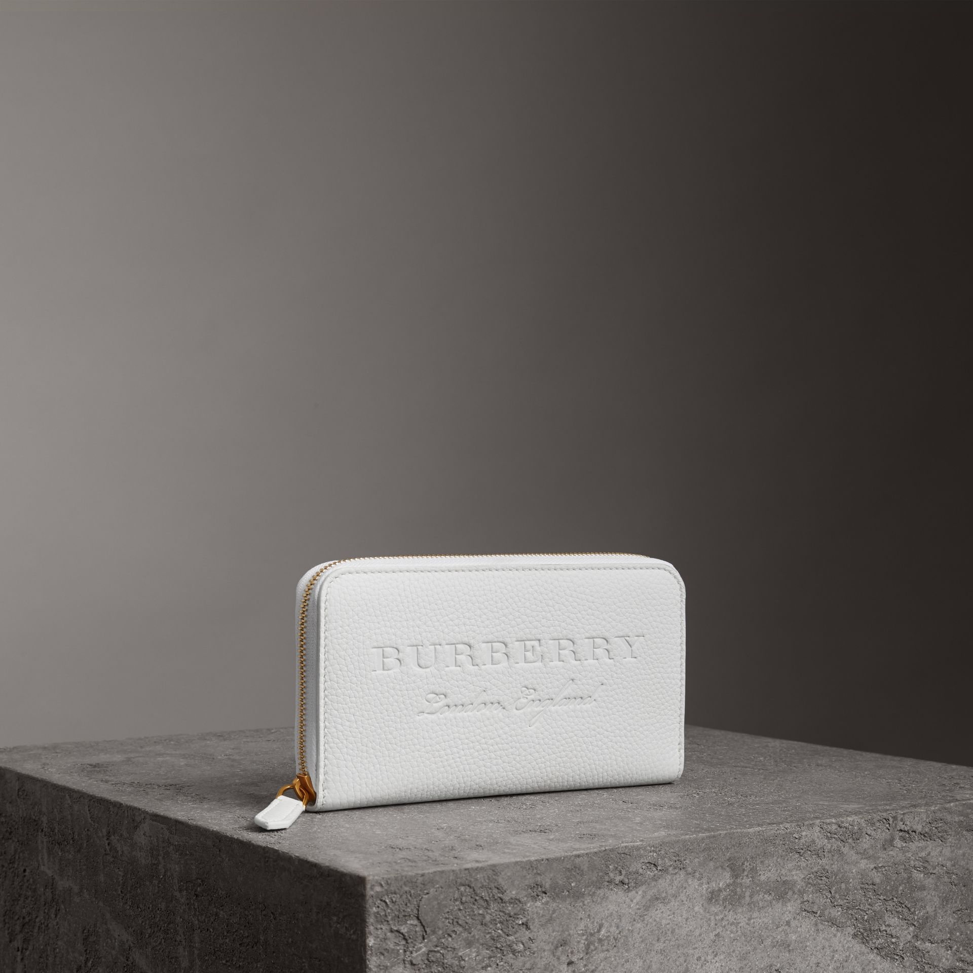 Embossed Leather Ziparound Wallet in Chalk White - Women | Burberry Australia - gallery image 0