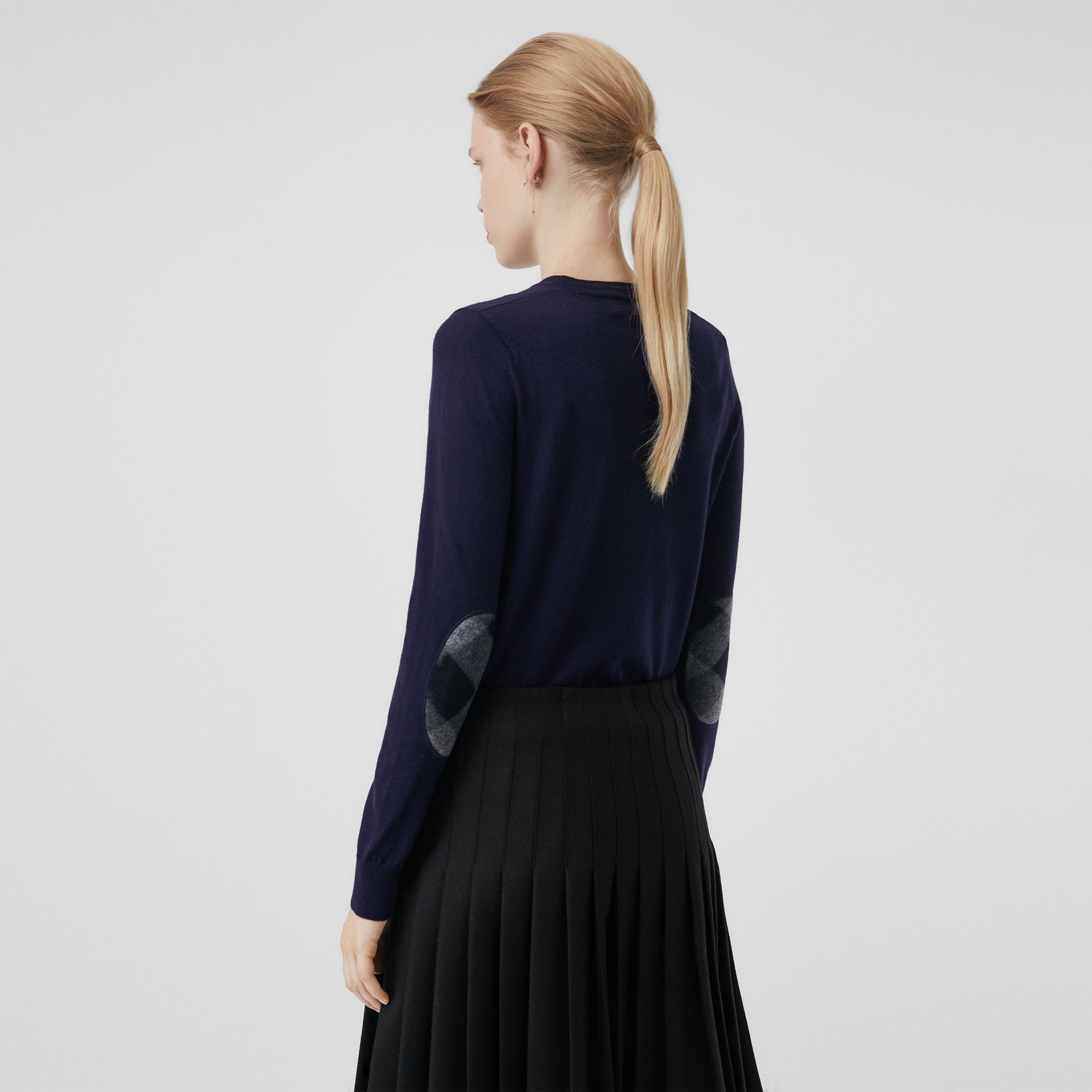Check Detail Merino Wool Crew Neck Sweater in Navy - Women | Burberry - gallery image 2