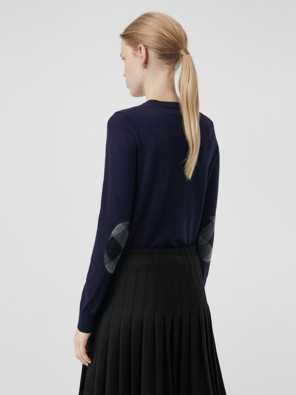 Check Detail Merino Wool Crew Neck Sweater in Navy - Women | Burberry - cell image 2