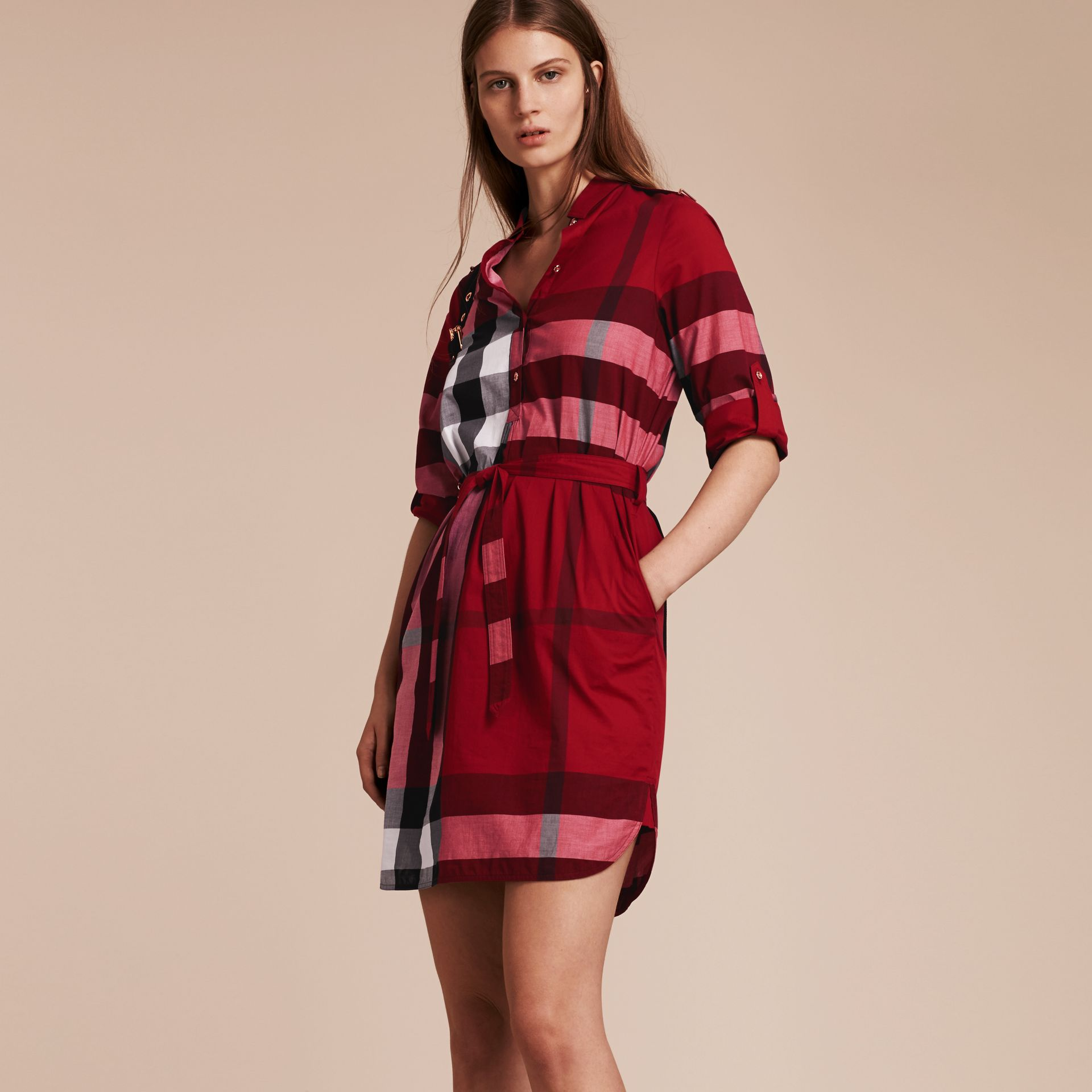 Check Cotton Shirt Dress in Parade Red - gallery image 6