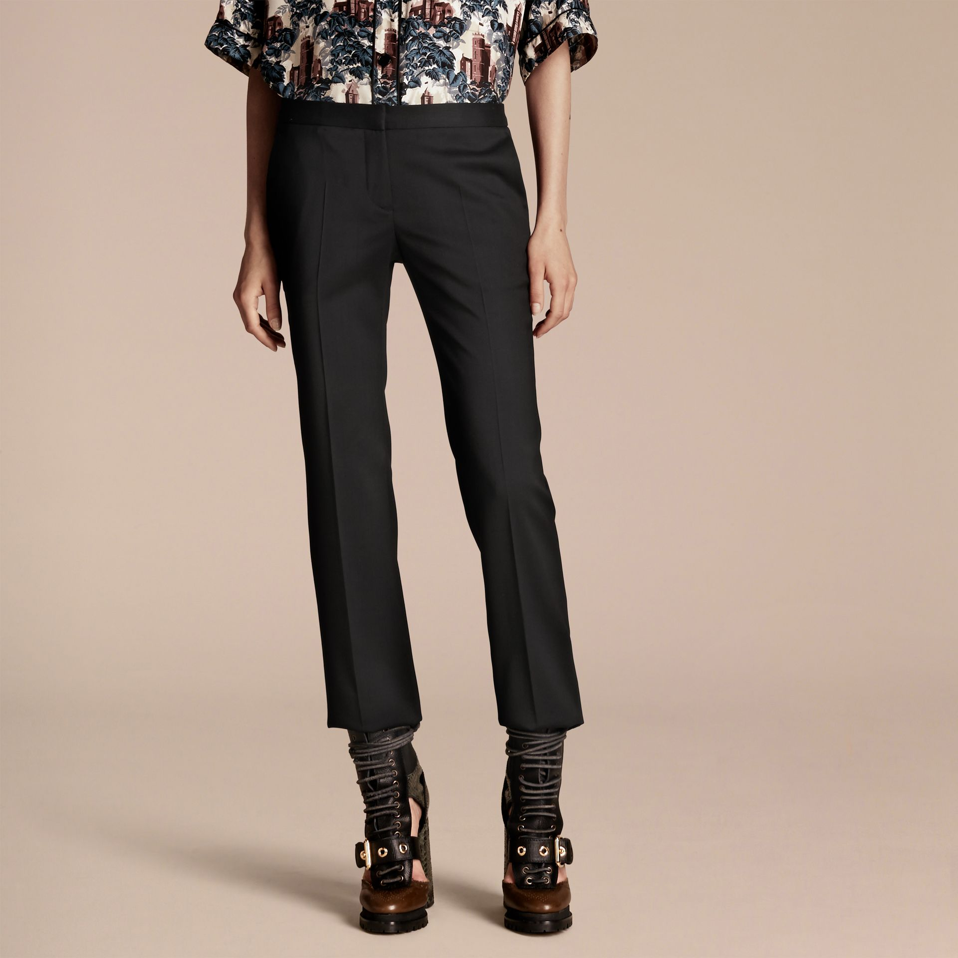 Cropped Stretch Wool Tailored Trousers - gallery image 1