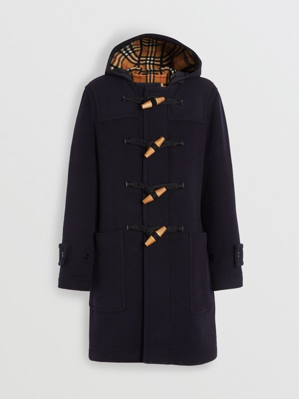 Vintage Check Detail Wool Blend Hooded Duffle Coat in Navy - Men | Burberry Singapore - cell image 3