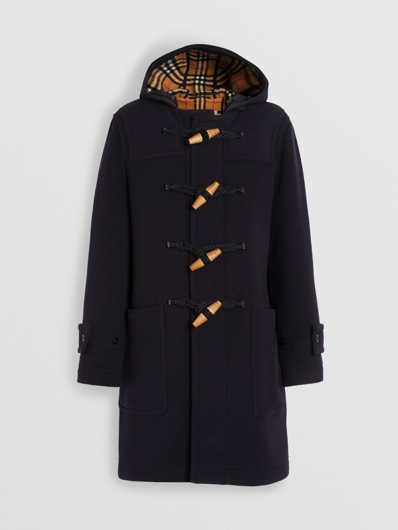 Vintage Check Detail Wool Blend Hooded Duffle Coat in Navy