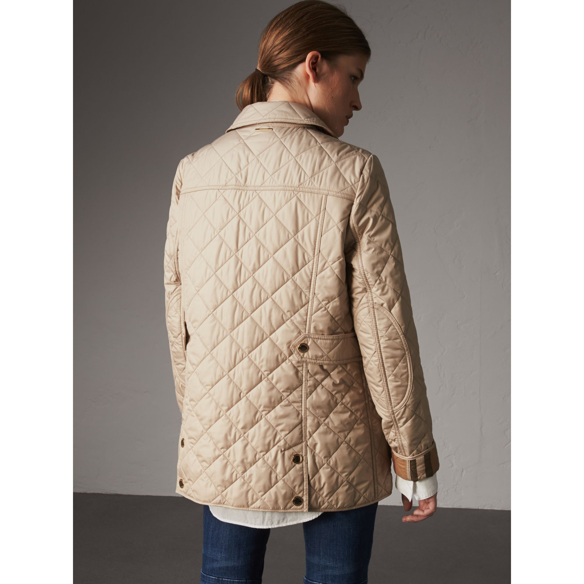 Check Detail Diamond Quilted Jacket in Dark Stone - Women | Burberry - gallery image 3
