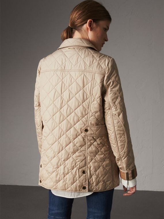 Check Detail Diamond Quilted Jacket in Dark Stone - Women | Burberry - cell image 2