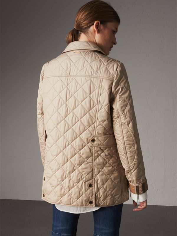 Check Detail Diamond Quilted Jacket in Dark Stone - Women | Burberry United States - cell image 2