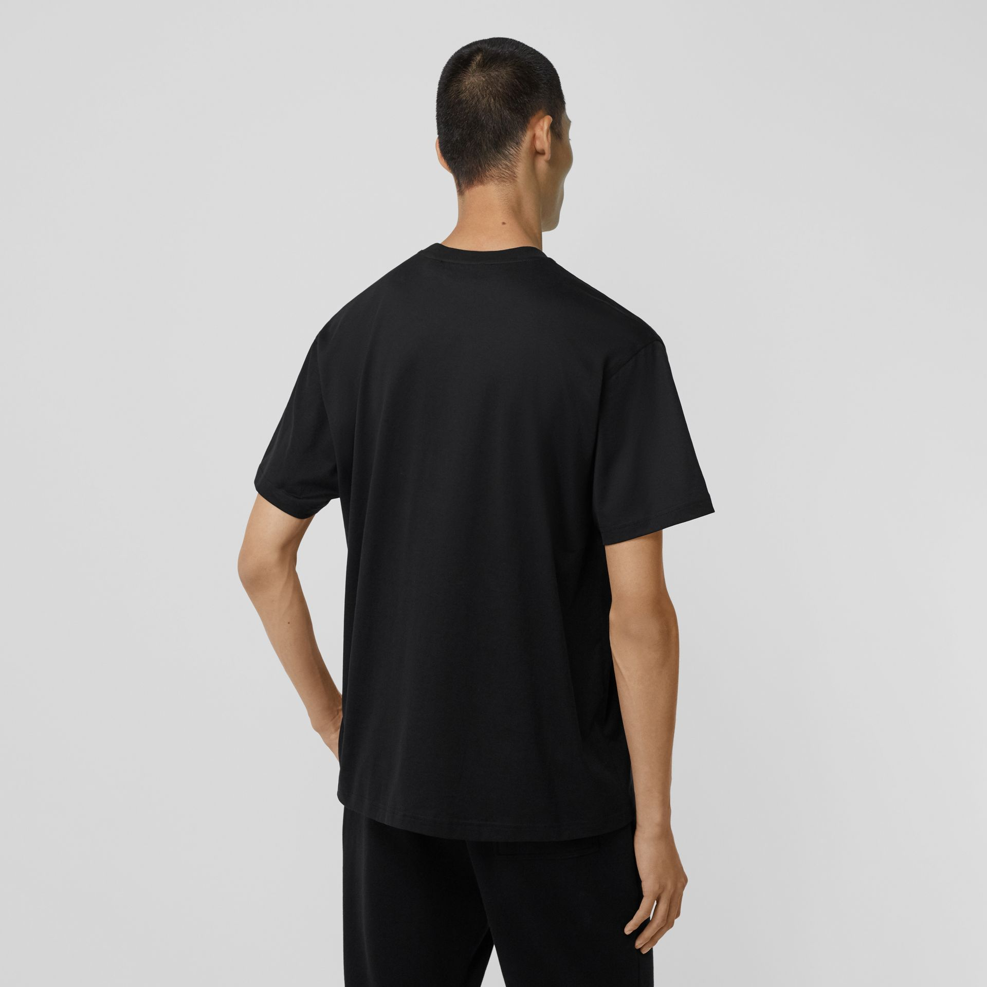 Crystal Monogram Motif Cotton Oversized T-shirt in Black - Men | Burberry - gallery image 2