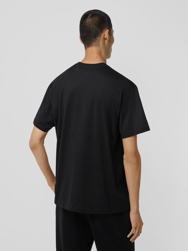 Crystal Monogram Motif Cotton Oversized T-shirt in Black - Men | Burberry - cell image 2