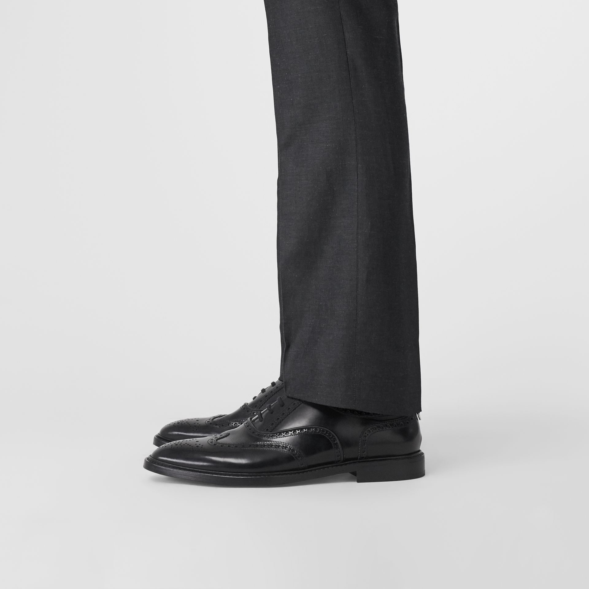 Leather Oxford Brogues in Black | Burberry - gallery image 2