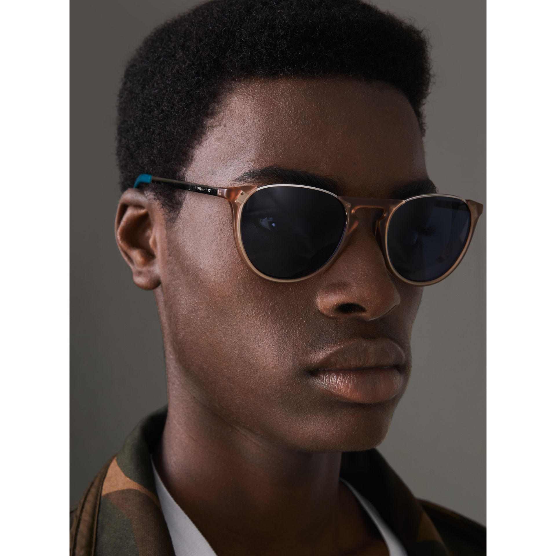 Keyhole Pilot Round Frame Sunglasses in Nude - Men | Burberry - gallery image 3