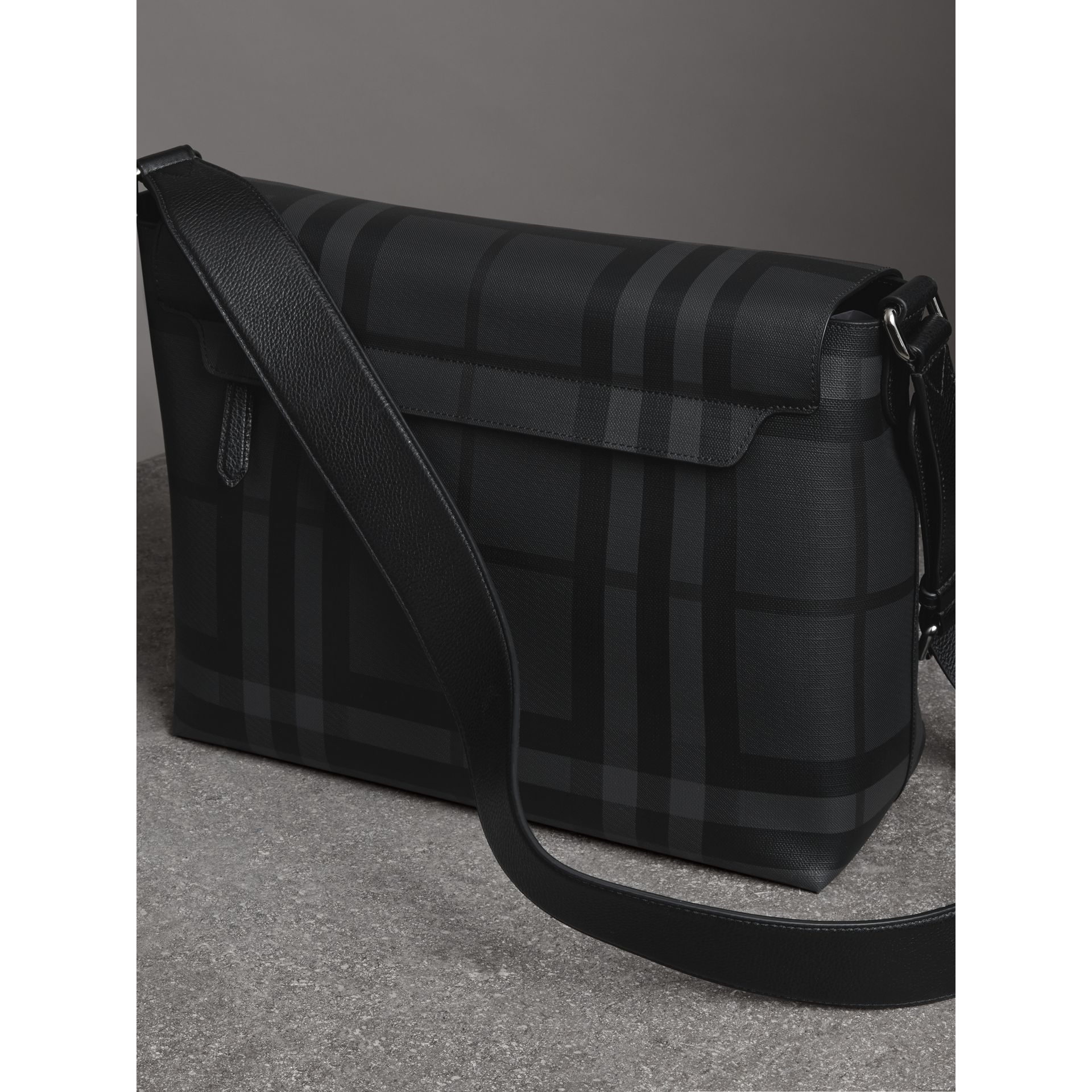 Large London Check Messenger Bag in Charcoal/black - Men | Burberry - gallery image 4