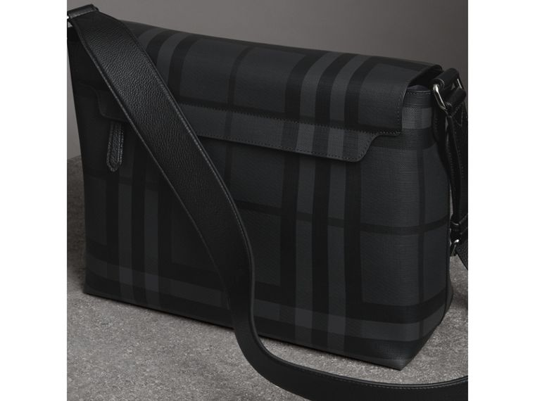 Large London Check Messenger Bag in Charcoal/black - Men | Burberry United Kingdom - cell image 4