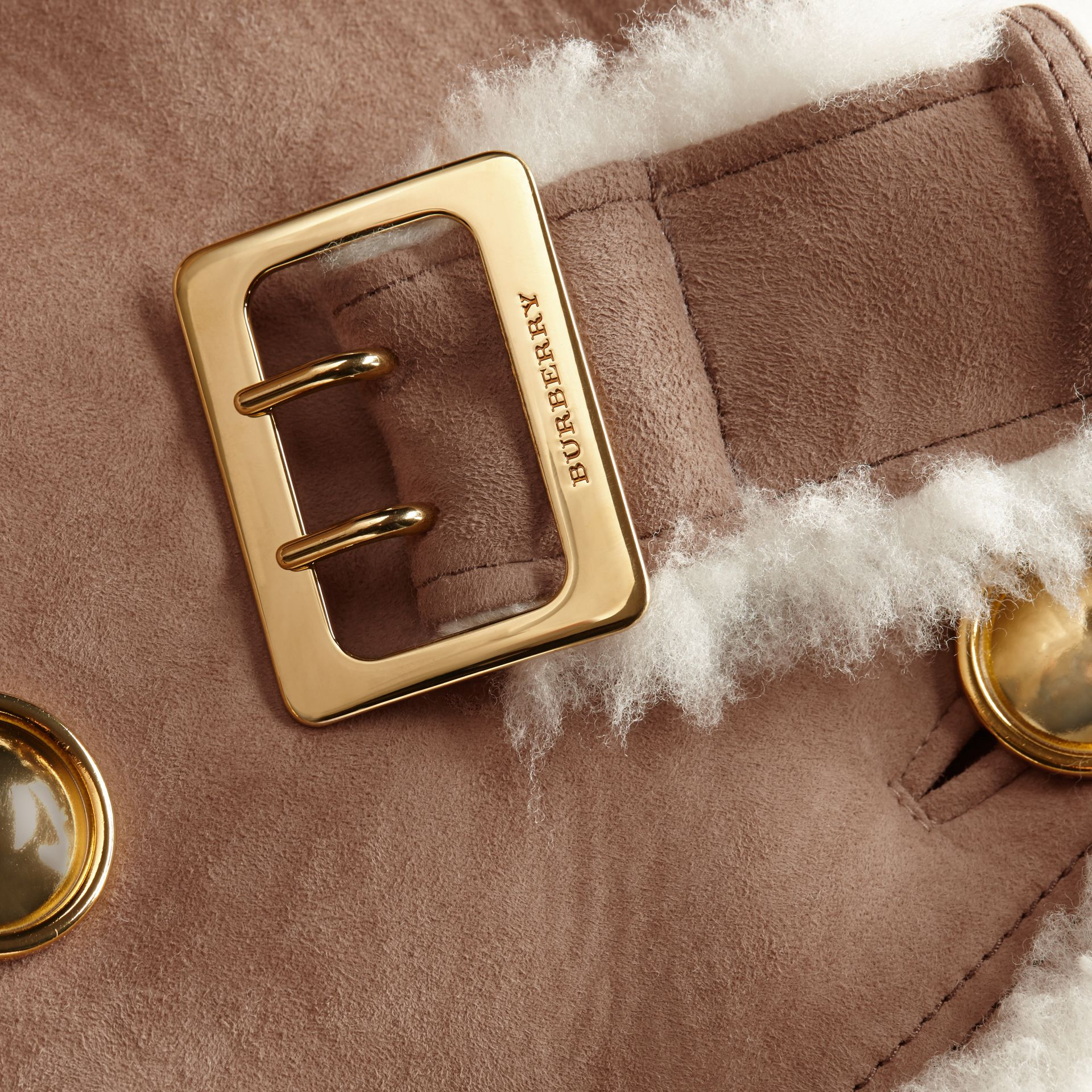 Camel Cropped Suede and Shearling Aviator Jacket - gallery image 2