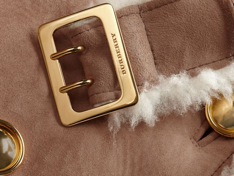 Camel Cropped Suede and Shearling Aviator Jacket - cell image 1