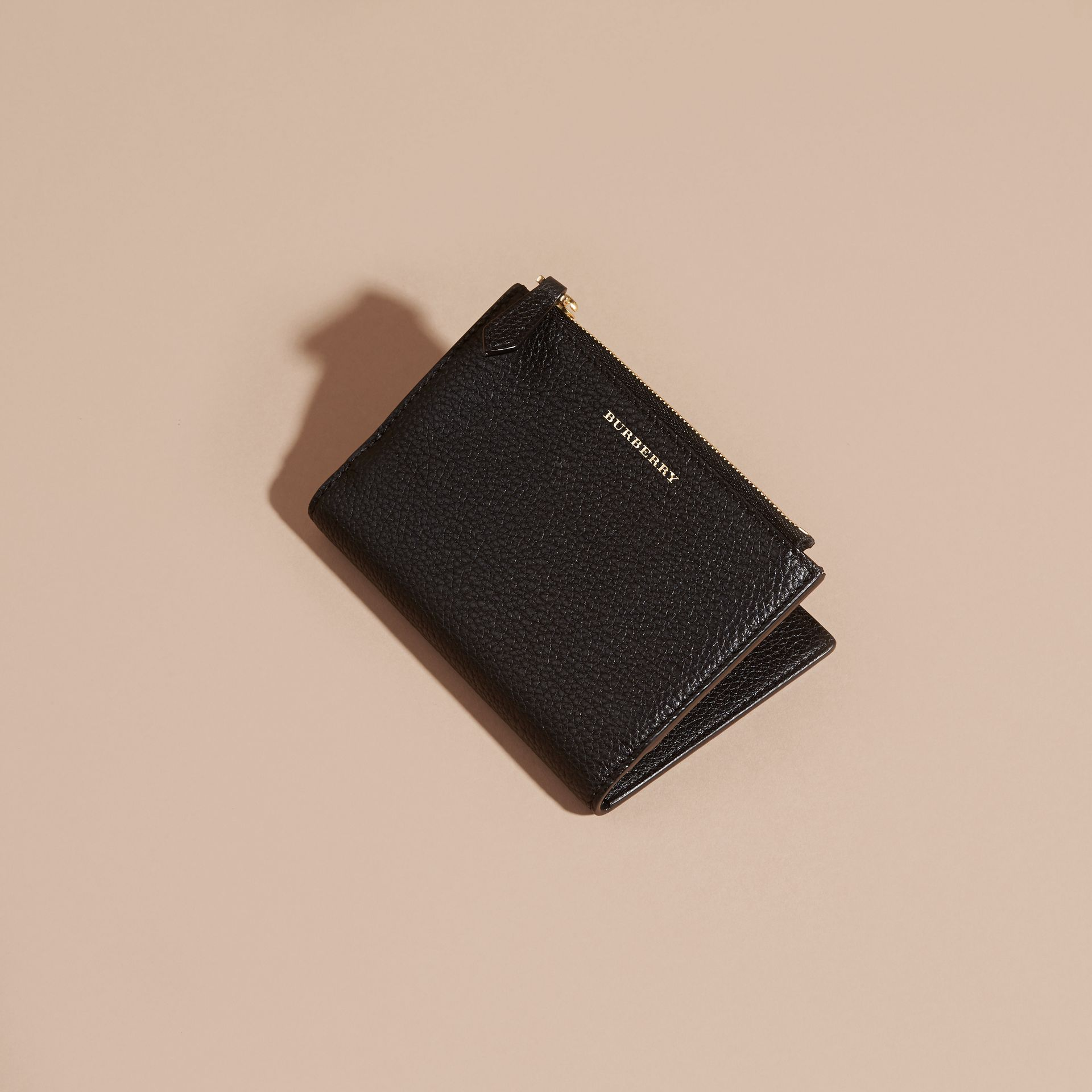 Leather Passport Wallet in Black - gallery image 3