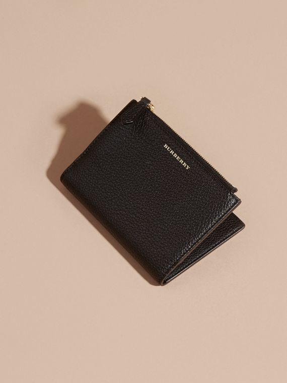 Leather Passport Wallet in Black | Burberry Canada - cell image 2