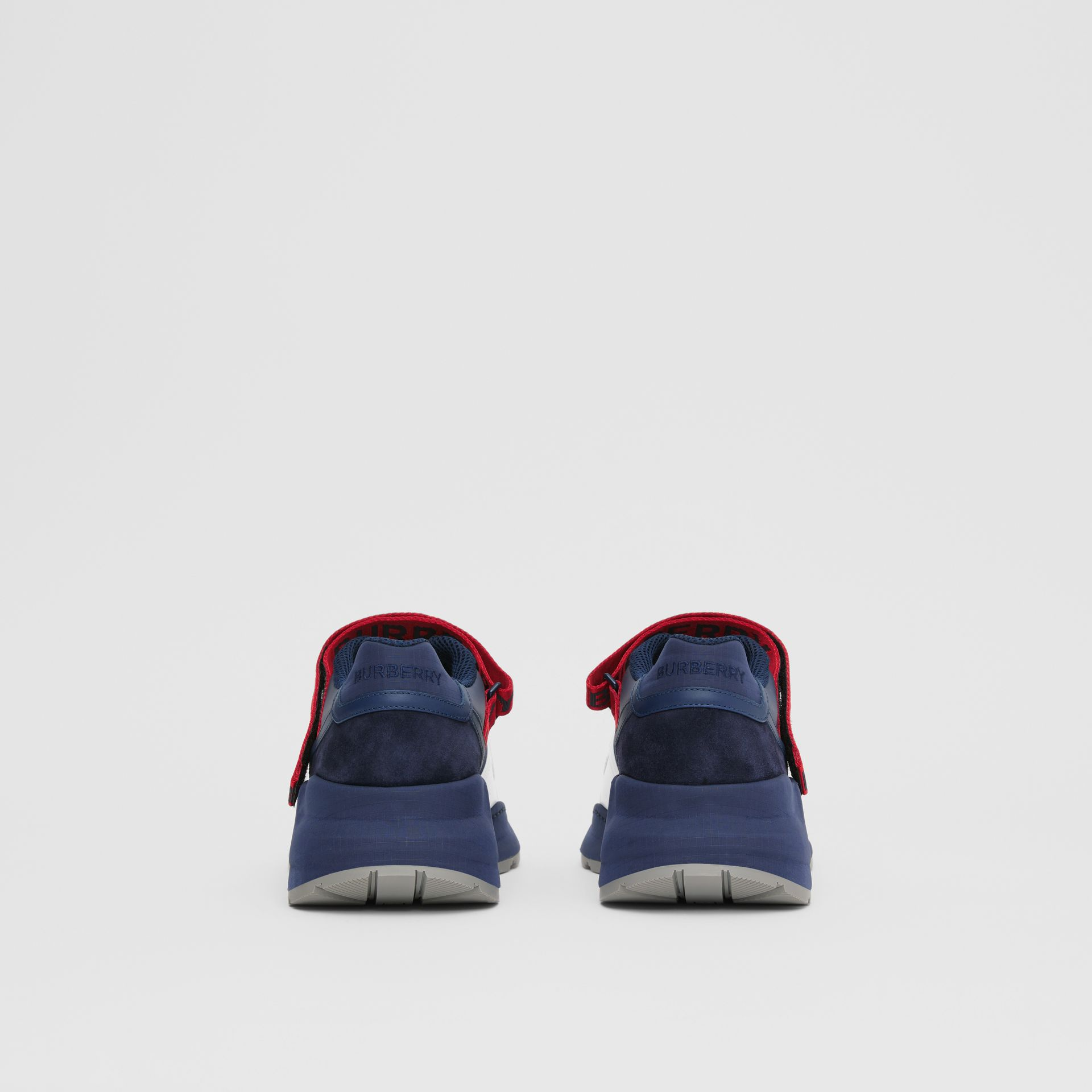 Logo Detail Leather and Suede Sneakers in Navy - Men | Burberry Canada - gallery image 3
