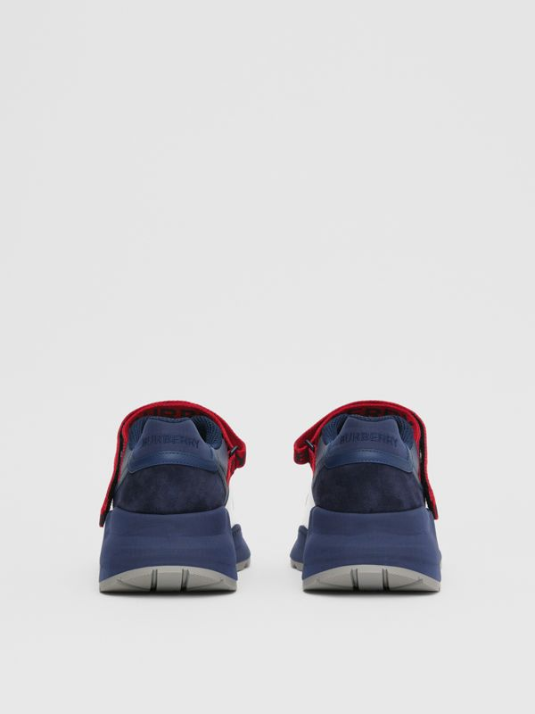 Logo Detail Leather and Suede Sneakers in Navy - Men | Burberry Canada - cell image 3