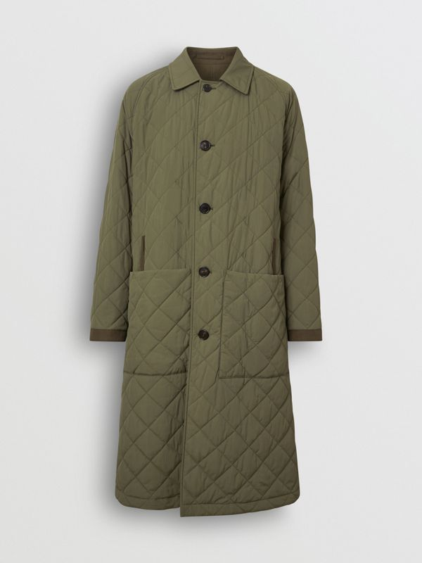 Reversible Diamond Quilted and Cotton Car Coat in Dark Olive - Men | Burberry Singapore - cell image 3