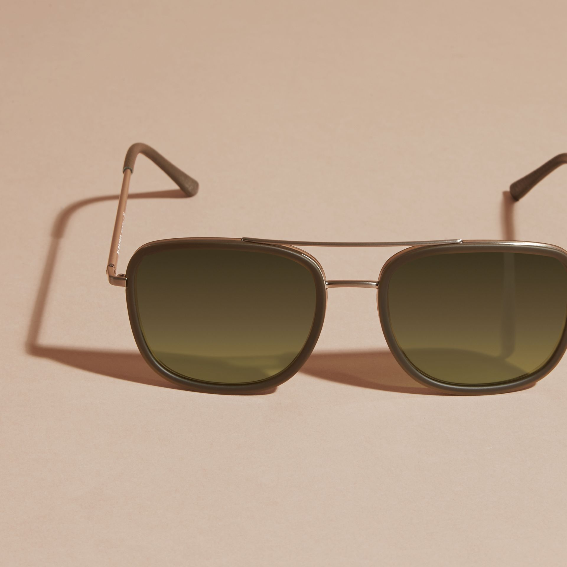 Grey Square Frame Acetate and Leather Sunglasses Grey - gallery image 3