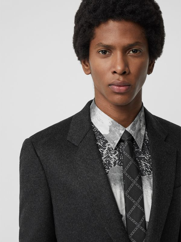 Slim Cut Link Print Silk Tie in Black - Men | Burberry United Kingdom - cell image 2